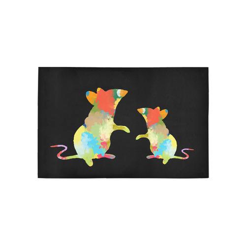 Summer Color Colorful Splash Design Area Rug 5'x3'3''