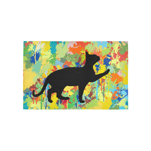 Lovely Cat Colorful Splash Complet Area Rug 5'x3'3''