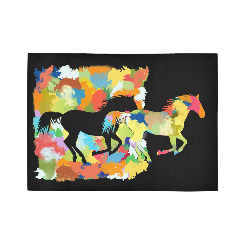 Horse  Shape Galloping out of Colorful Splash Area Rug7'x5'
