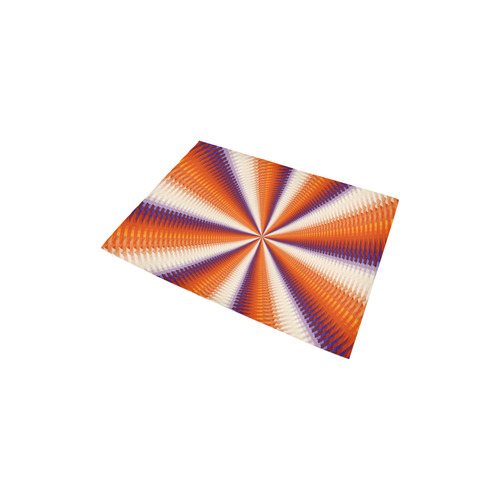 "Time Tunnel Orange Red Fawn Spiral Design Area Rug 2'7""x 1'8''"
