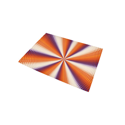 Time Tunnel Orange Red Fawn Spiral Design Area Rug 5'x3'3''