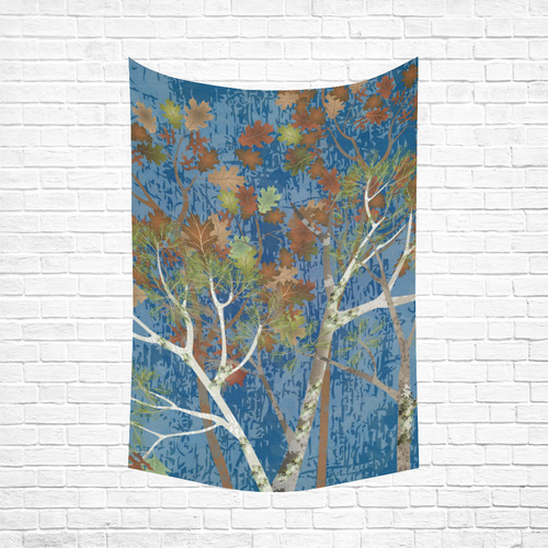 """Mossy Woods Blue Cotton Linen Wall Tapestry 60""""x 90"""""""
