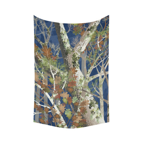 """Mossy Woods at Night Cotton Linen Wall Tapestry 60""""x 90"""""""