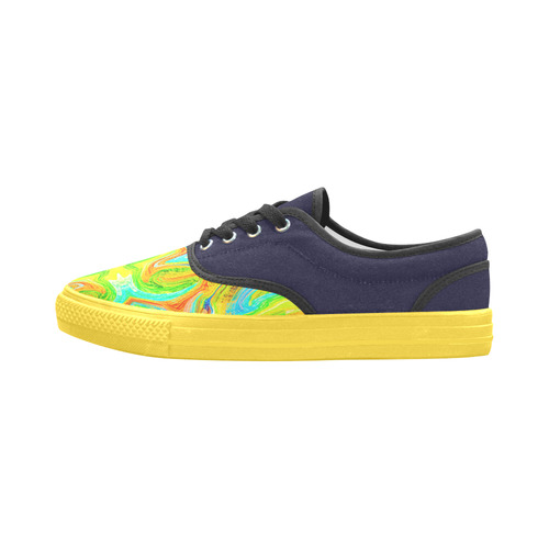 Multicolor Abtract Figure Aries Women's Canvas Shoes (Model 029)