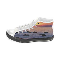 Summer's Glow Men's Classic High Top Canvas Shoes (Model 017)