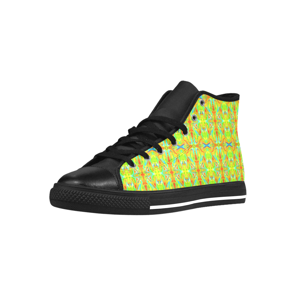 Multicolor Abstract Figure Pattern Aquila High Top Microfiber Leather Women's Shoes (Model 027)