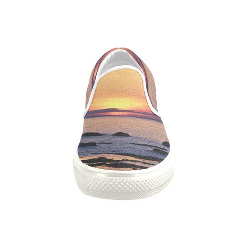 Summer's Glow Men's Unusual Slip-on Canvas Shoes (Model 019)