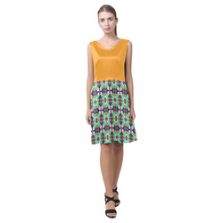 Radiant Yellow Colorful Quilt Chryseis Sleeveless Pleated Dress(Model D07)
