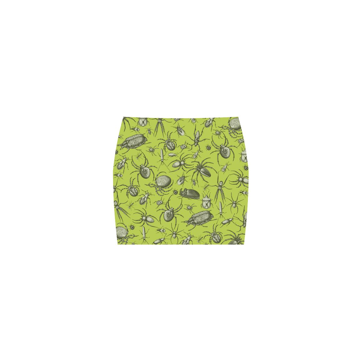 bugs spiders creepy crawlers halloween green Nemesis Skirt (Model D02)