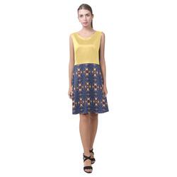 Lemon Drop and Blue Pinwheels Chryseis Sleeveless Pleated Dress(Model D07)