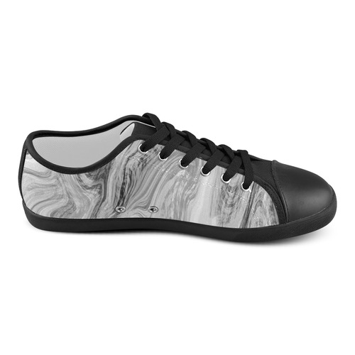 Black and White Swirly Women's Canvas Shoes (Model 016)