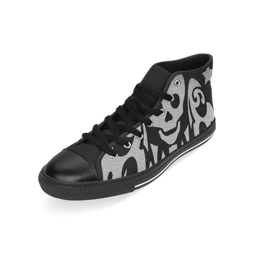 SKULL STAR TRIBAL Men's Classic High Top Canvas Shoes /Large Size (Model 017)