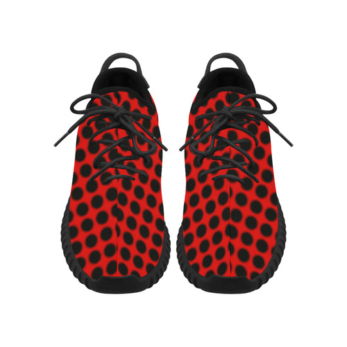Black Red Ladybug Grus Women's Breathable Woven Running Shoes (Model 022)
