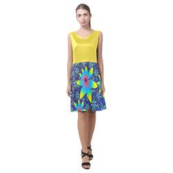Buttercup Blue Floral Dance Chryseis Sleeveless Pleated Dress(Model D07)