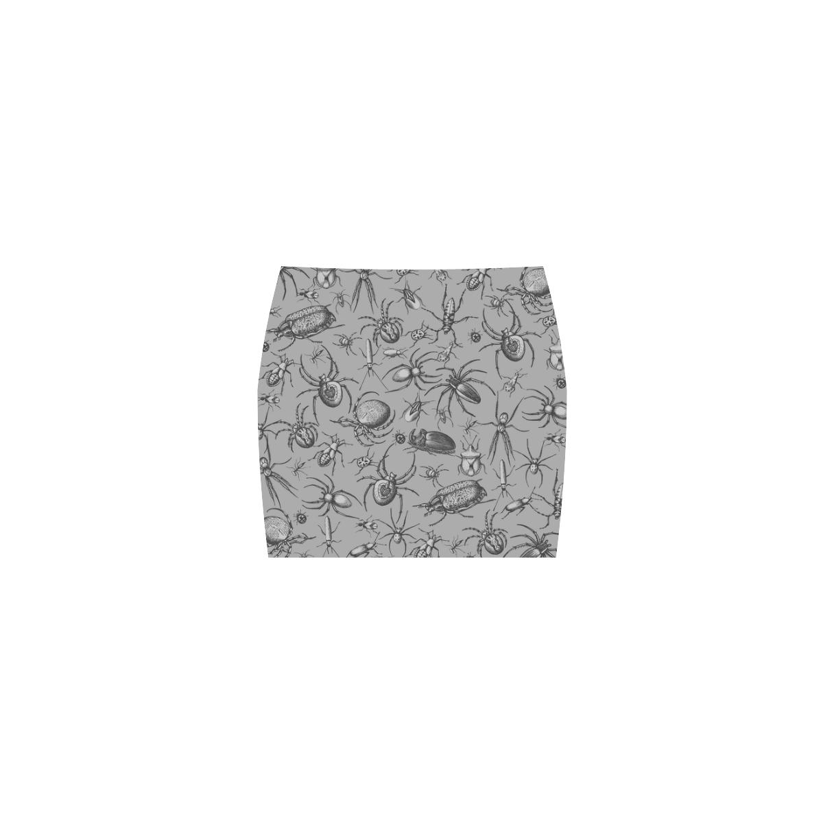 beetles spiders creepy crawlers bugs grey Nemesis Skirt (Model D02)