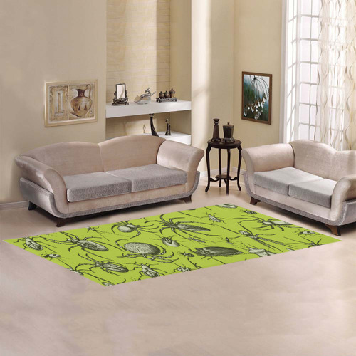 insects spiders creepy crawlers halloween green Area Rug 10'x3'3''