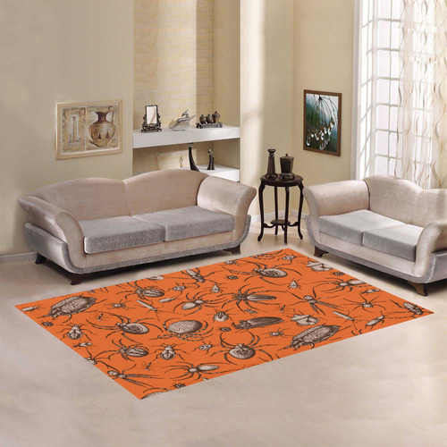 beetles spiders creepy crawlers insects halloween Area Rug7'x5'