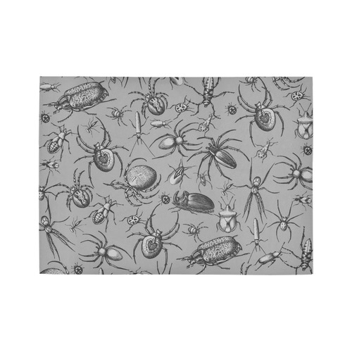 beetles spiders creepy crawlers insects grey Area Rug7'x5'