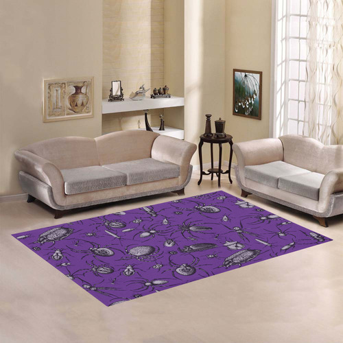 spiders creepy crawlers insects purple halloween Area Rug7'x5'