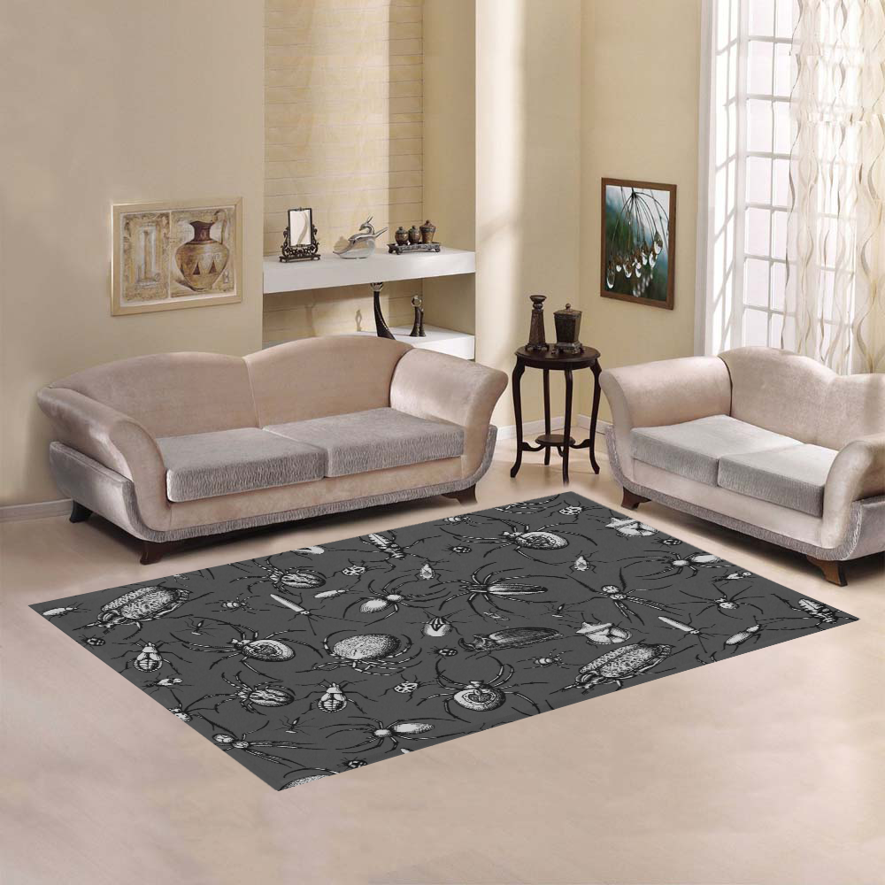 beetles spiders creepy crawlers insects bugs Area Rug7'x5'