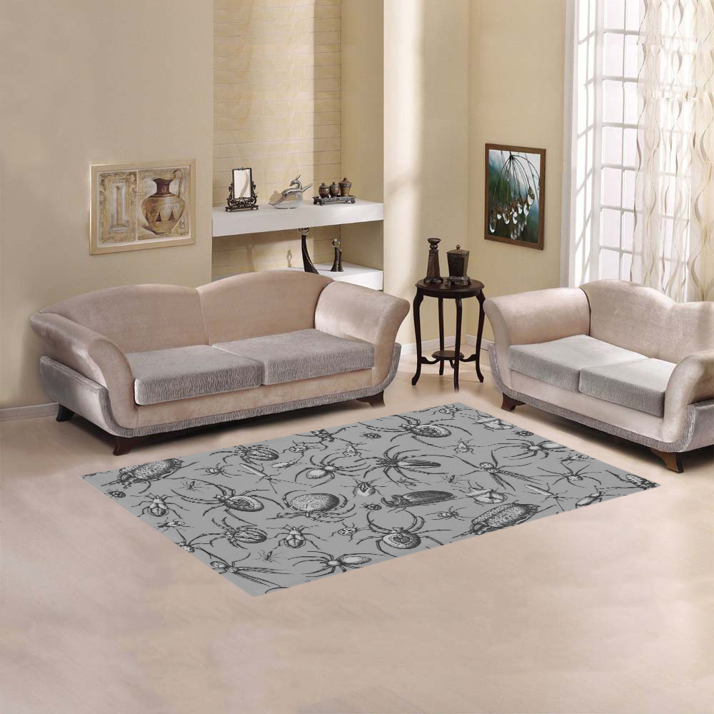 beetles spiders creepy crawlers insects grey Area Rug 5'x3'3''