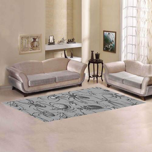 beetles spiders creepy crawlers insects grey Area Rug 10'x3'3''