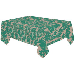 "autumn fall colors green beige damask Cotton Linen Tablecloth 60""x120"""
