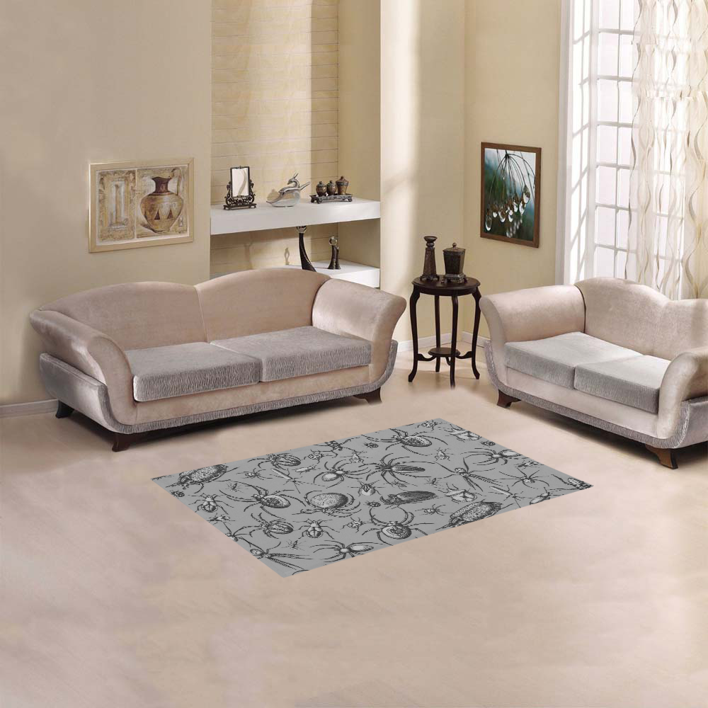 """beetles spiders creepy crawlers insects grey Area Rug 2'7""""x 1'8''"""