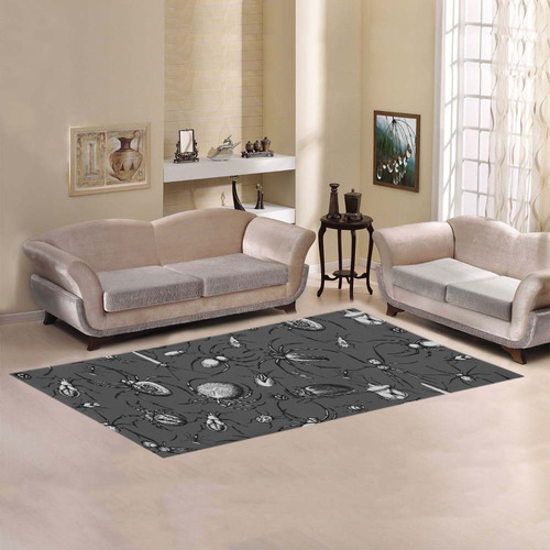 beetles spiders creepy crawlers insects bugs Area Rug 7'x3'3''