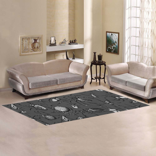 beetles spiders creepy crawlers insects bugs Area Rug 10'x3'3''