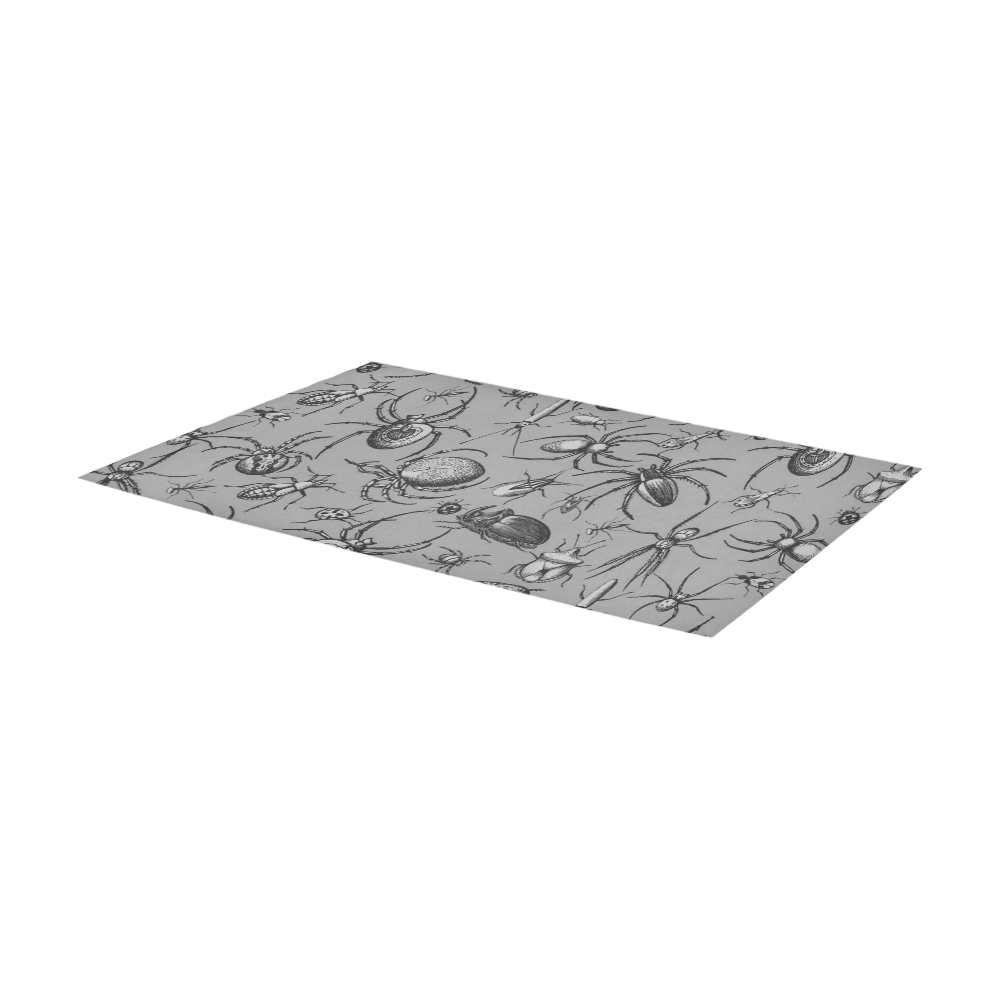 beetles spiders creepy crawlers insects grey Area Rug 7'x3'3''