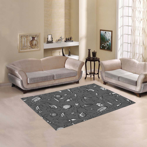 beetles spiders creepy crawlers insects bugs Area Rug 5'3''x4'