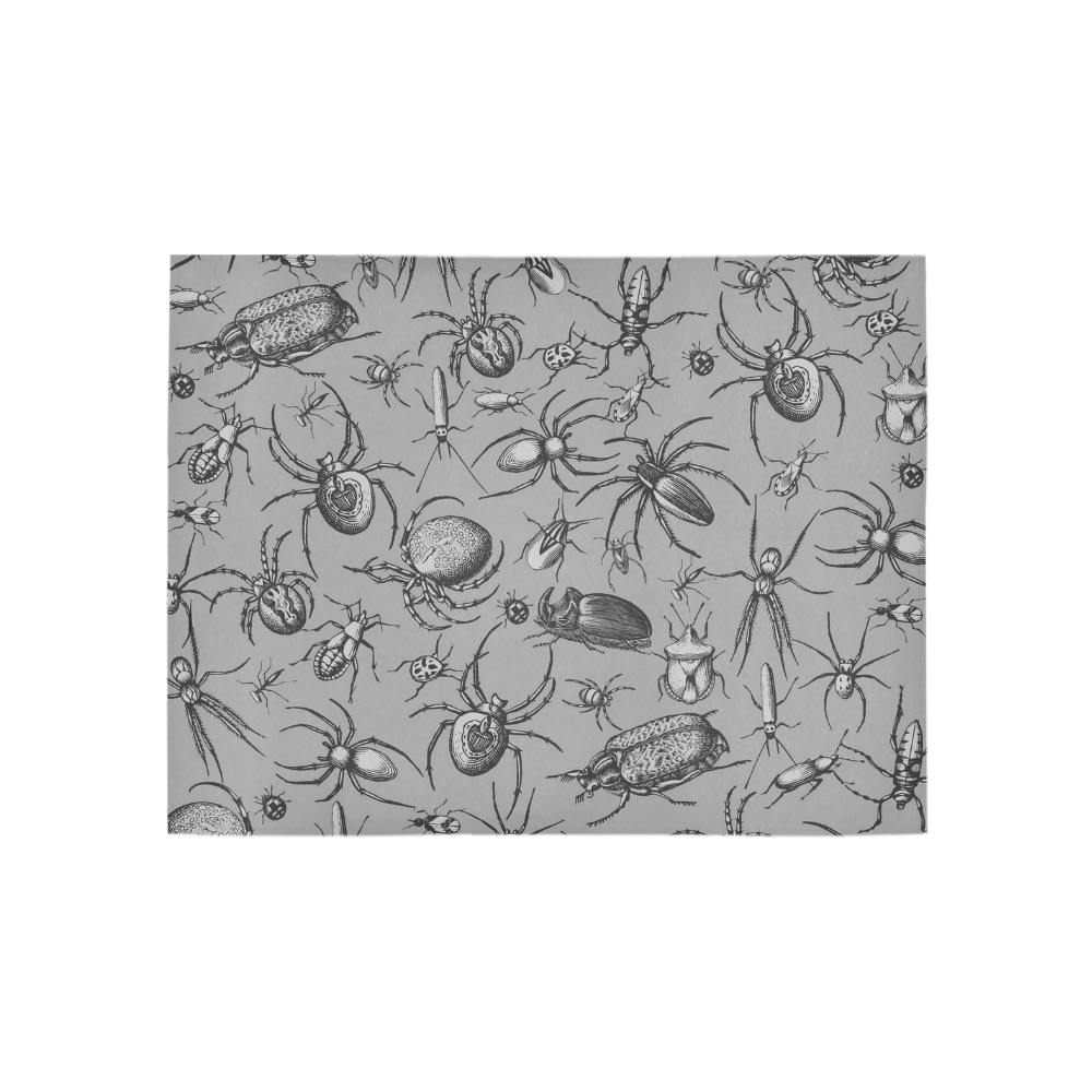beetles spiders creepy crawlers insects grey Area Rug 5'3''x4'