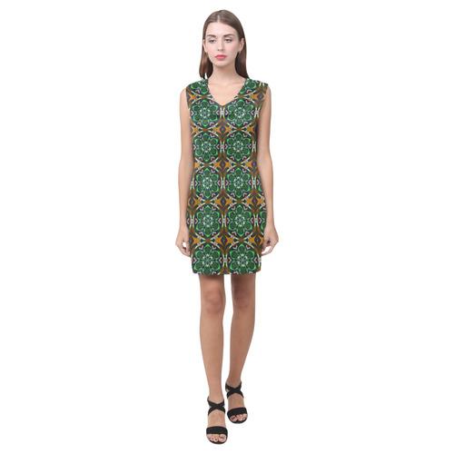 Green and Brown Floral Phoebe Sleeveless V-Neck Dress (Model D09)