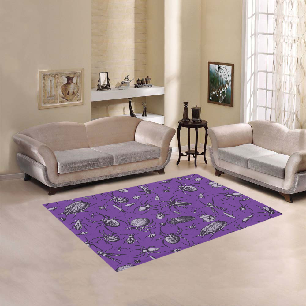 spiders creepy crawlers insects purple halloween Area Rug 5'3''x4'
