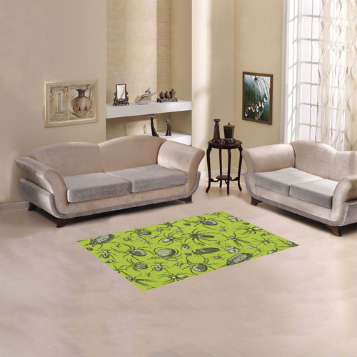 "insects spiders creepy crawlers halloween green Area Rug 2'7""x 1'8''"