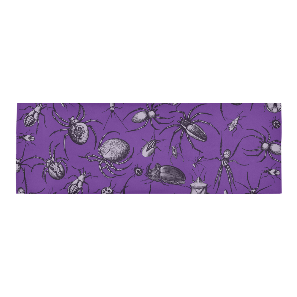 spiders creepy crawlers insects purple halloween Area Rug 10'x3'3''