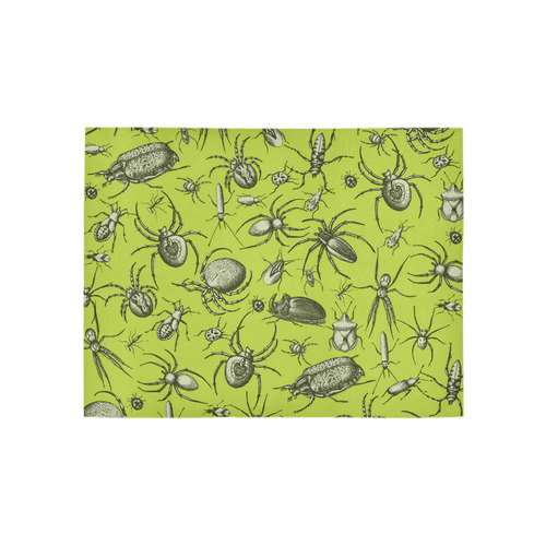 insects spiders creepy crawlers halloween green Area Rug 5'3''x4'
