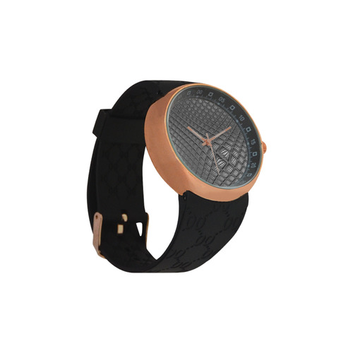 Bump Grid Black and White Men's Rose Gold Resin Strap Watch(Model 308)