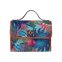 Tropical Blues Waterproof Canvas Bag/All Over Print (Model 1641)