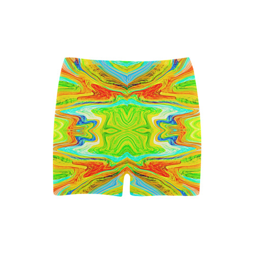 Multicolor Abtract Figure Briseis Skinny Shorts (Model L04)