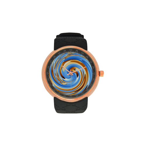 Golden Blue Circle Men's Rose Gold Resin Strap Watch(Model 308)