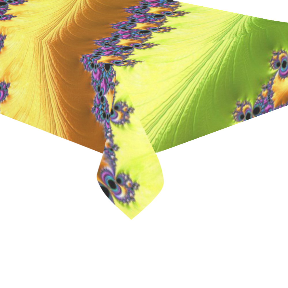 """Blue Pink Yellow Green Fractal Cotton Linen Tablecloth 60""""x120"""""""