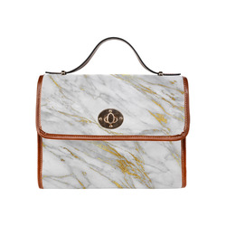 italian Marble, white and gold Waterproof Canvas Bag/All Over Print (Model 1641)