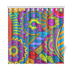 "Pop Art PAISLEY Ornaments Pattern multicolored Shower Curtain 72""x72"""