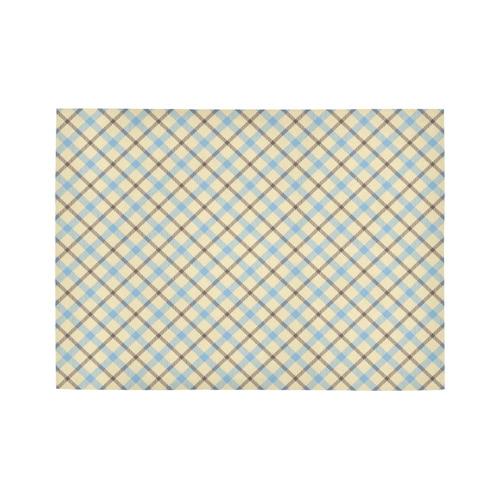 Plain Plaid / Tartan in Baby Blue, Brown and Cream Area Rug7'x5'