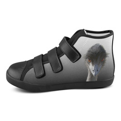 Torley.com [GRADIENT] Gritty Black-2-Clear 1.png b Velcro High Top Canvas Kid's Shoes (Model 015)