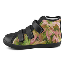 Pot full of colors, watercolors on black Velcro High Top Canvas Kid's Shoes (Model 015)