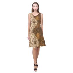Wonderful brown vintage design Sleeveless Splicing Shift Dress(Model D17)