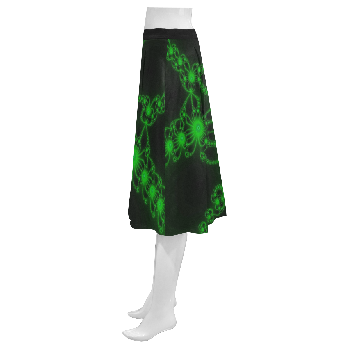 Green Flower Bloom Mnemosyne Women's Crepe Skirt (Model D16)